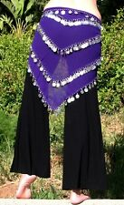 SEXY PURPLE Gothic BELLY Dance Dancing Burlesque COIN HIP SCARF BELT WRAP Sarong