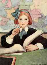 Postcard: Vintage Repro Print - Redhaired School girl w Book, Map & Pencil