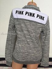 Victoria's Secret Pink Gray Marl White Black Perfect Quarter Zip Pullover - XS