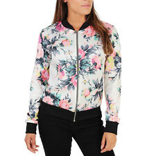 Womens Floral Print Biker Jacket Camo Bomber Zipper Tops Coats Fitted Outwear
