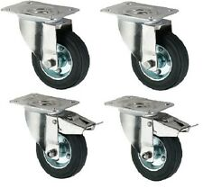 "Industrial Heavy Duty Rubber Castor Wheels, 4-Pack (200MM/8"")"