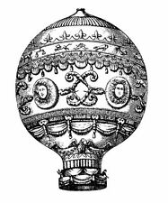 """Clear Stamp (2.5""""x3.5"""") acrylic unmounted vintage engraving FLONZ Airbaloon"""