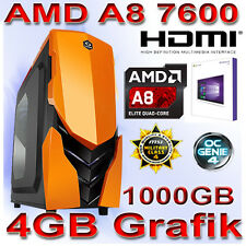 PC Quad Core Computer GAMER A8 7600 16GB 1000GB DVDRW Komplett PC Win10 PRO 64