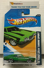 '72 Ford Gran Torino Sport #117 * Green w/ White MC5 * 2012 Hot Wheels * G4