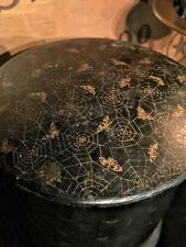 Rare Gothic Antique Victorian Papier Mache Spider Web Powder Box with Lid