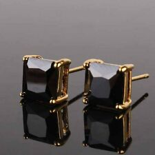 Classic 9K Gold Filled Black Cubic Zirconia Mens Square Pair Stud Earrings,Z1167