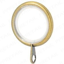 20x ANTIQUE BRASS SILENT CURTAIN POLE RINGS Quiet Glider Header Tape Pleat Metal