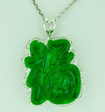 18k Solid White gold Natural Grade A Jade Lucky Fortune  Diamond Pendant