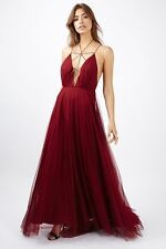 Topshop Red Berry Premium Tulle Lace Up Ltd Ed Maxi Dress Uk14 Rrp£125