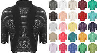 New Womens Crochet Knitted Short Sleeve Ladies Bolero Cardigan Top Shrug 14 - 18