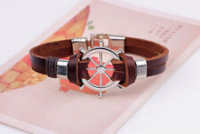 New Vintage Men Anchor Bracelet Handmade Multilayer Faux Leather Cuff Wristband