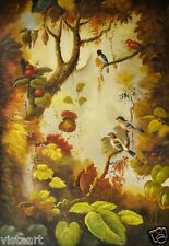 """Oil Painting on Stretched Canvas """"Radiant Birds Sitting On Branches""""- 24x36"""""""