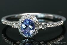 Genuine Tanzanite & Diamond Victorian Engagement Ring In 18K White Gold All Size