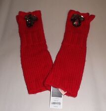 Juicy Couture Red Bejeweled Chunky Jewel Mitten Arm Warmer Gloves YTRUC472 New