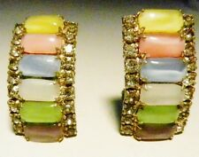 Art Deco Pearlized Fruit Salad Jelly Bean Rhinestone Clip Earrings-1930's