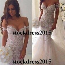 Sexy Lace Mermaid Beach Wedding Bridal Gown Dress Custom Size 4 6 8 10 12 14 16+