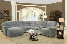 Casual Silver Gray Fabric Bonded Leather 6P Reclining Sectional Sofa Living Room