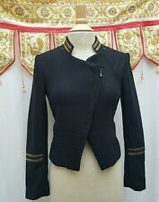 H&M Military Style Navy Nautical Jacket Gold Embroidery Glam Sz 4 Wool Blend