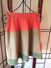 Marni Color Block Cotton Sk 38 Tie accent at waist Skirt SZ 38