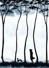 LARGE PAINTING GREYHOUND LURCHER WHIPPET DOGS TREES PRINT 6212 Dianne Heap GALGO