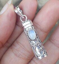 925 Sterling Silver-PL74-Rainbow Moonstone Balinese Perfume Bottle/Oil Pendant-