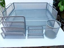 NEW FIVE PIECE ORGANIZER MESH DESK/OFFICE  SET SILVER or BLACK