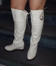White womens over the knee performance boots US size 6 wedge heel