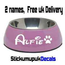 2x Personalised Disney Style Name stickers for Dog / Cat Bowls Choice of colours