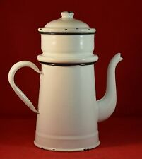 Vintage White Enamel Porcelain Cajun French Drip Coffee Pot Made in Belgium