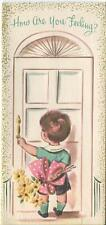 VINTAGE CUTE BOY SHORTS DOOR KNOCKER YELLOW DAISIES BUTTONS GREETING CARD PRINT