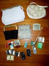 Antique Micro Beaded Coin Purses Bag German Silver Frame French Rhinestones