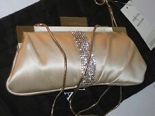 Badgley Mischka Small Aurore Clutch Champagne Silk Clutch Party Event Bag $295