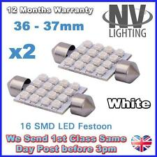2x 36mm C5w 12v 16smd Super Blanco Led coche cúpula Interior Festoon bombilla de luz