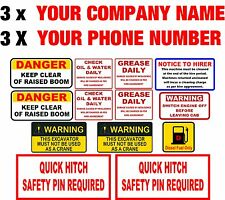 PLANT HIRE DECAL SET MINI DIGGER 3 X COMPANY NAME & PHONE NUMBER
