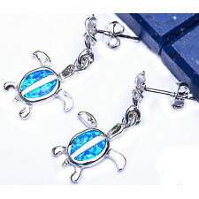 Blue Australian Opal TURTLE SURFER .925 Sterling Silver Earrings 1""