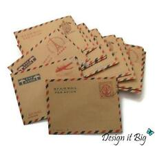 20x Small Envelopes Airmail Vintage Retro Style Brown Kraft Paper for Mini Cards