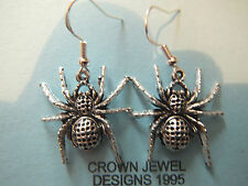 HANDMADE STERLING/TIBETAN SILVER SPIDER EARRINGS ORGANZA GIFT BAG HALLOWEEN GOTH