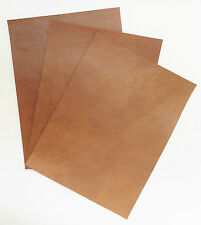 LEATHER PIECES OF COWHIDE 3 @ 20CM X 15CM ANTIQUE TAN 1 mm THICK PULL-UP