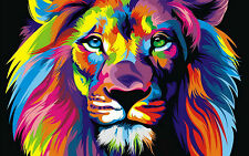"Lion Abstract  A1 Large  30"" X 20"" Canvas Print"