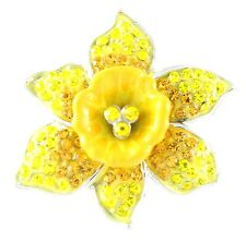 Marie Curie Fund Daffodil Large Diamante Brooch Pin Charity Donation Gift Box