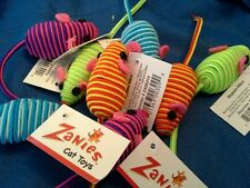 Zanies Hypno Corded Mice Cat Toy with Rattle. Lot of 4.
