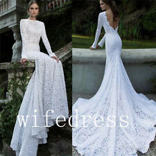 2016 Long Sleeve Mermaid Wedding Bridal Lace Dresses Open Back Gowns Custom Made