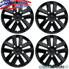 "4 NEW OEM MATTE BLACK 16"" HUB CAPS FITS VOLKSWAGEN VW CENTER WHEEL COVERS SET"