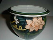 Siamese Pottery Thai Asian Hand Painted Water Lily Planter/Flower Pot -Thailand