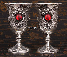 2 TIBET SILVER RED ZIRCON WITH HIGH-GRADE WINE CUP VINTAGE COLLECTABLE OLD