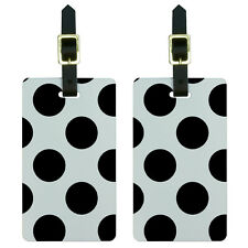 Mega Polka Dots Black White Luggage Suitcase Carry-On ID Tags Set of 2