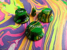 Swirl Guitar Knobs GREEN YELLOW MC Set for Ibanez Jem Universe RG S Guitar (New)