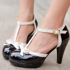 Women's T-Strap Cut Out Slim High Heels Pumps Patent Leather Mary Jane Shoes