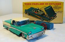 Cragstan Japan Tin Litho B/O 1958 FORD FAIRLANE SKYLINER Action Toy V RARE MIB