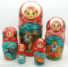 Thumbelina Russian Hand Carved Hand Painted Nesting Dols FAIRY TALE by  Andersen